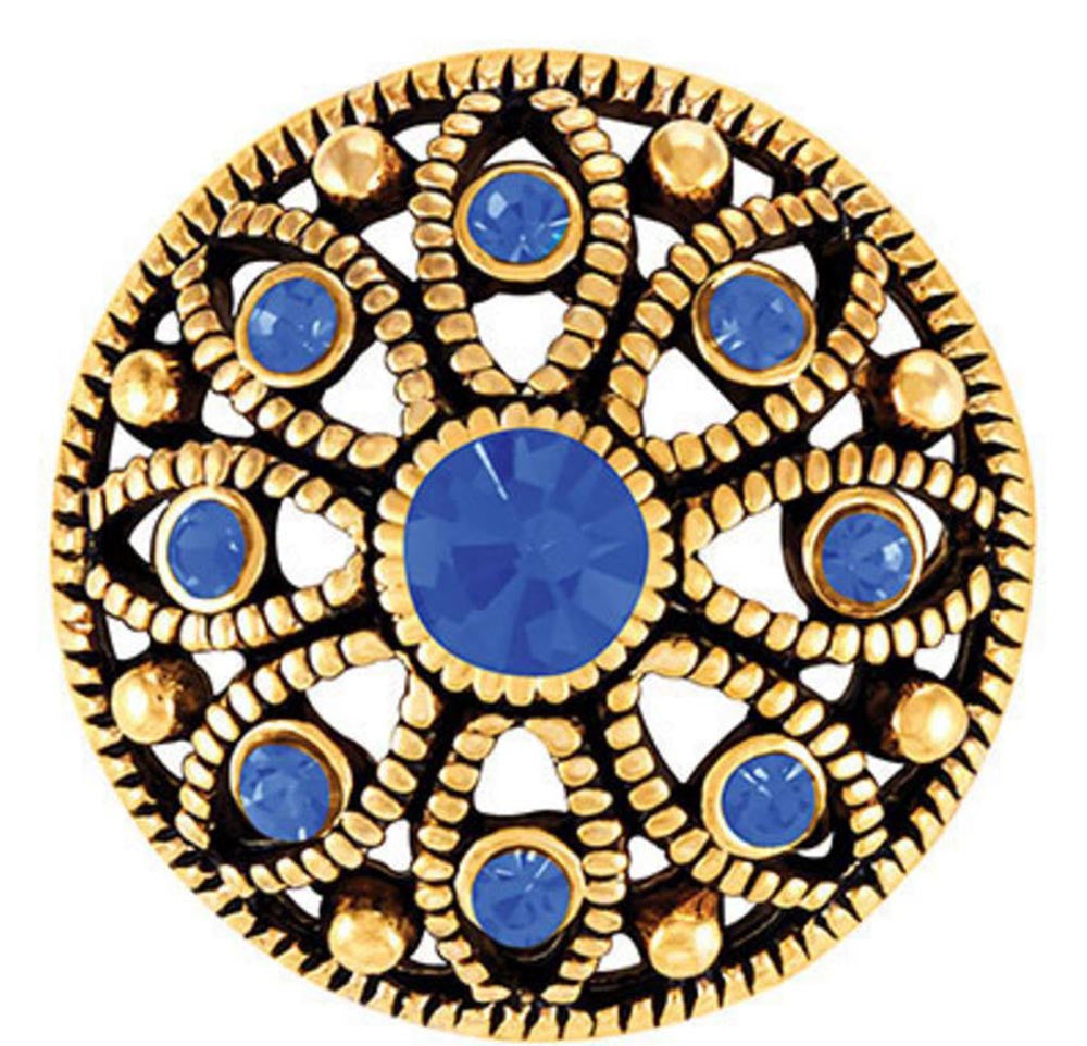 Ginger Snaps Antique Brass Mae Flower - Sapphire Snap