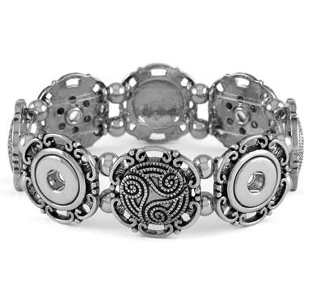 Petite Ginger Snaps Bracelet 4 Snap Stretch Wave