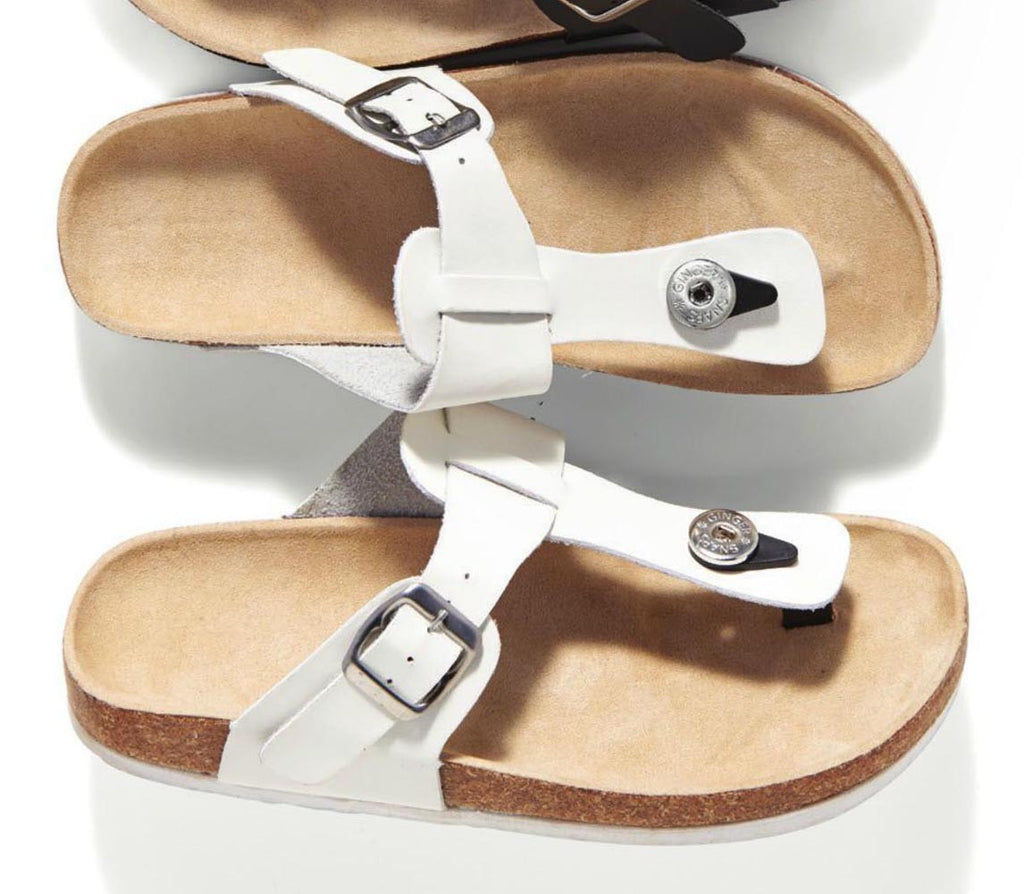 Bonita Slide Buckle Sandals White Size 8