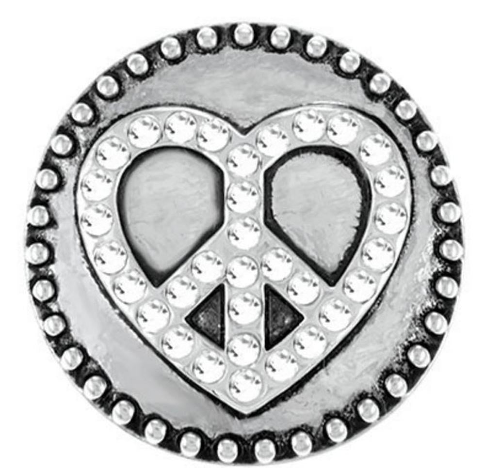 Ginger Snaps Peace Sign Studded Heart Snap