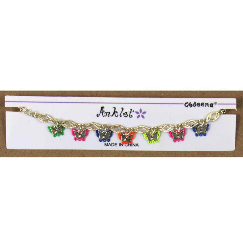 Ankle Bracelet Butterflies adjustable to 10.5""