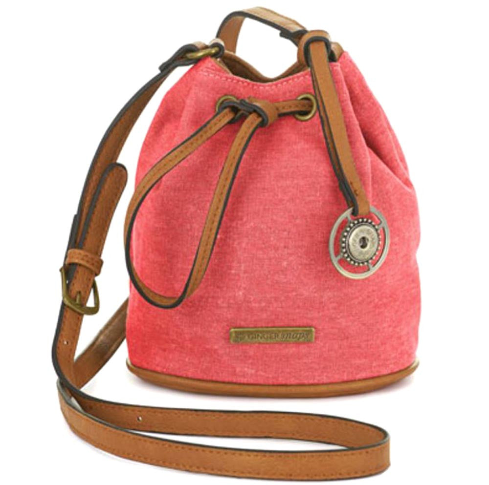 Ginger Snaps Bridget Mini Bucket Crossbody-Coral