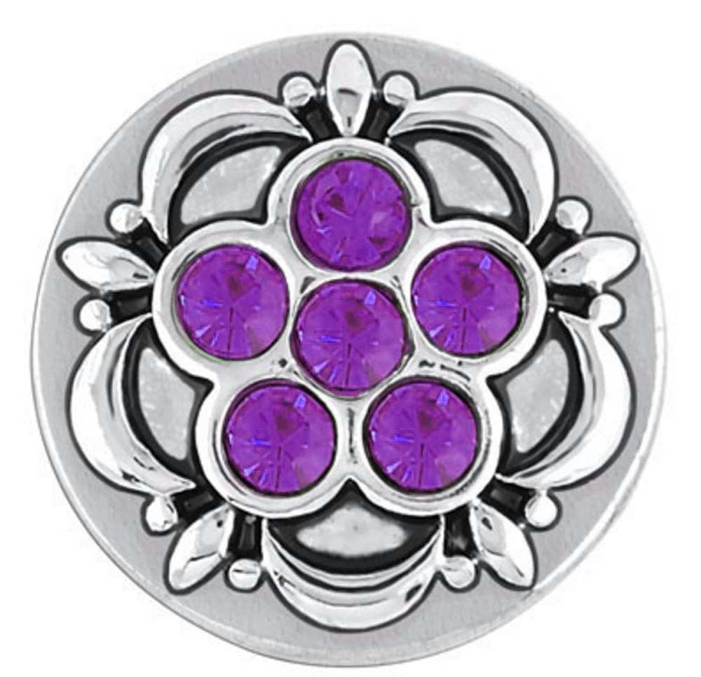 Petite Ginger Snaps Six Stone Flower - Amethyst Snap