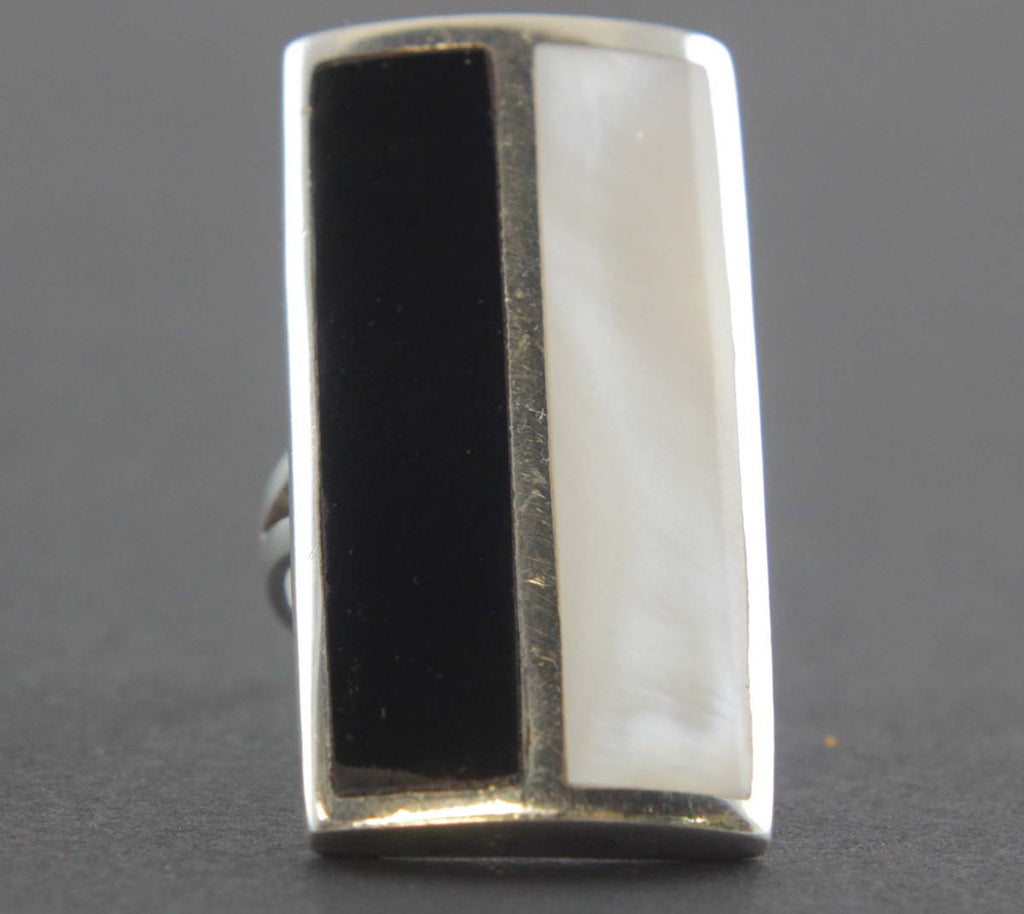 Sterling Silver Mother of Pearl  & Onyx Ring Size 8