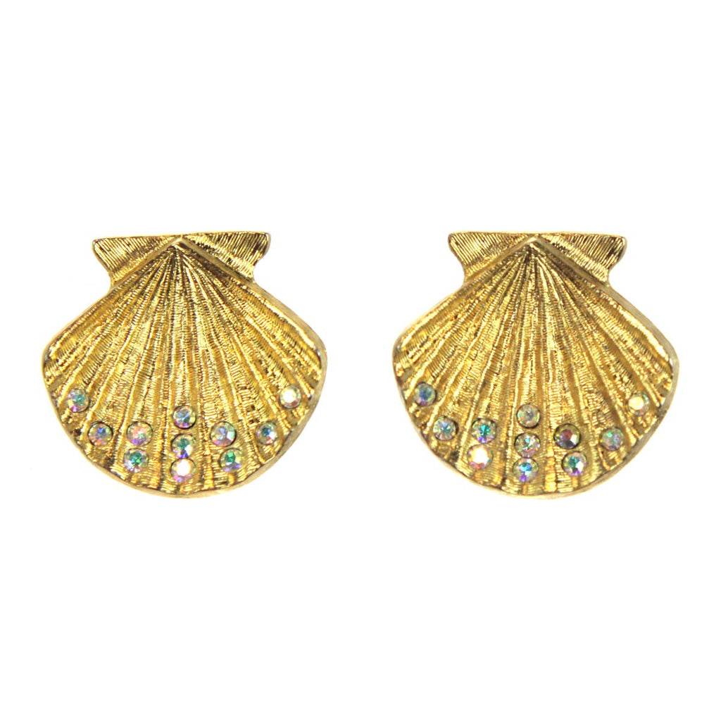 Kirks Folly Scalloped Shell Clip Earrings