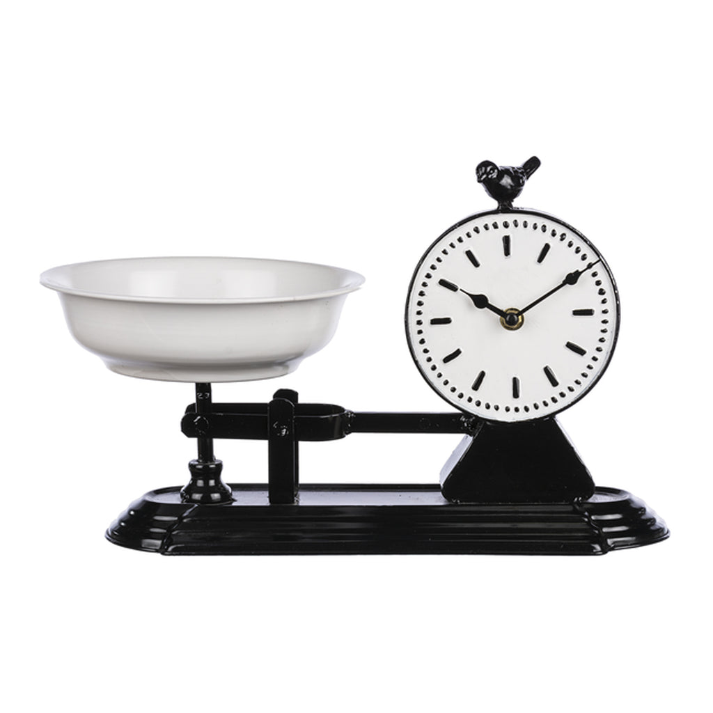 Black & White Enamel Scale Clock
