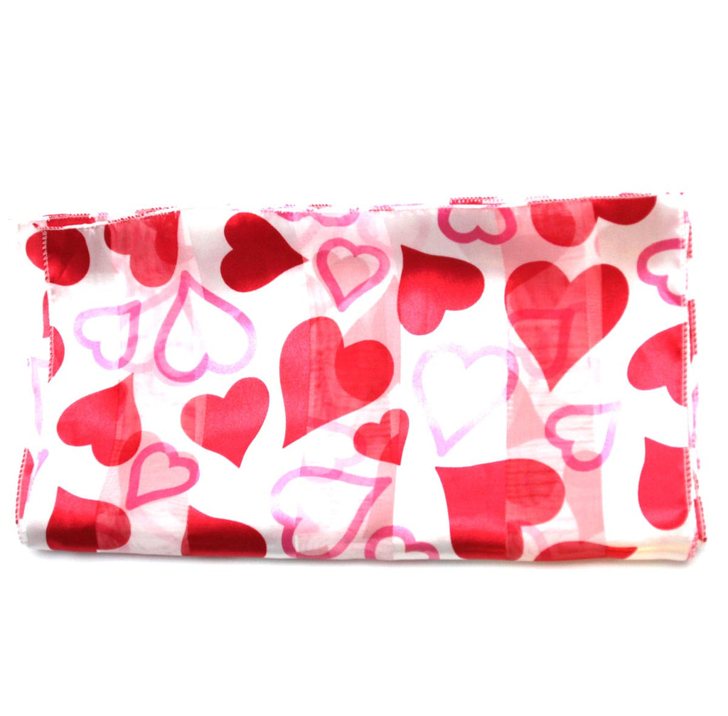 Valentines Scarf White with Red Hearts