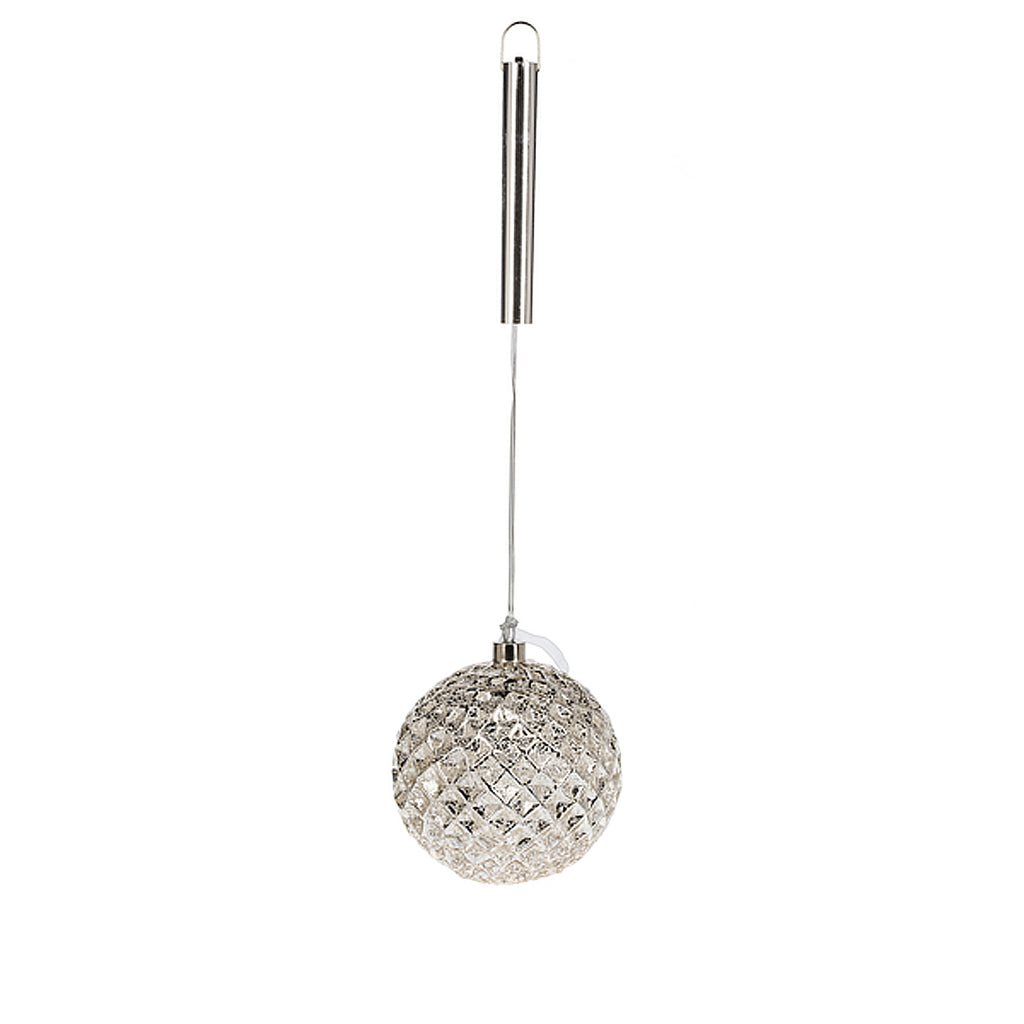 "4.7"" Metallic Glass Diamond Ornament"