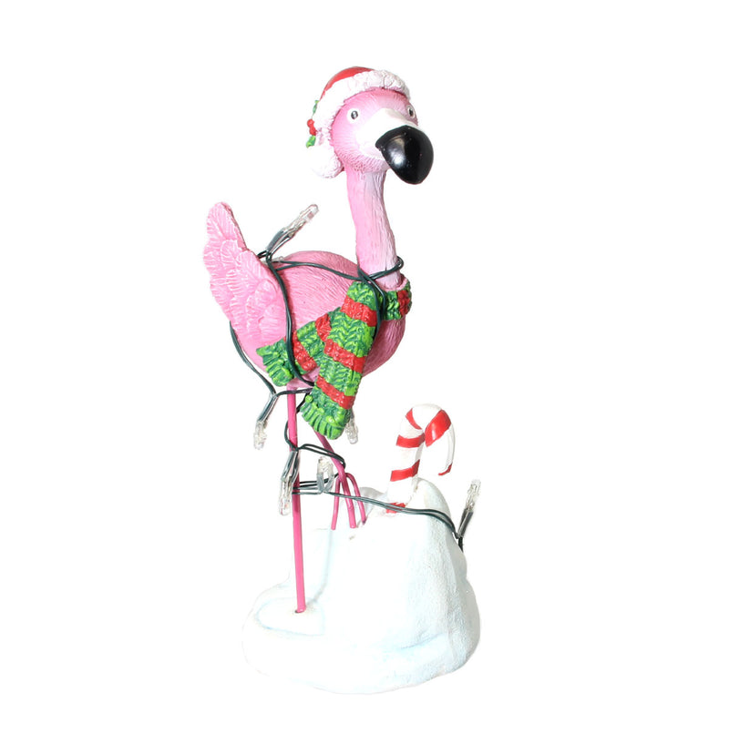 Lighted Christmas Flamingo Figurine