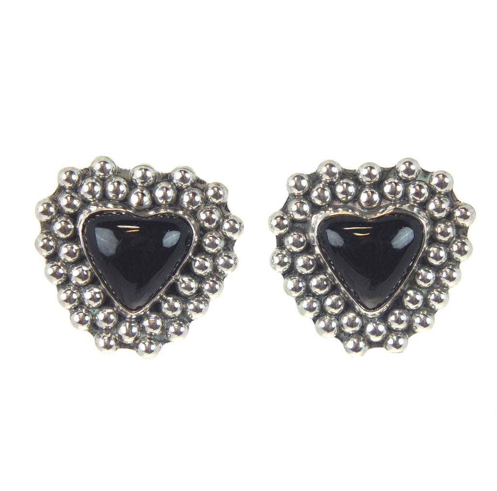 Heart Onyx Clip Earrings Sterling Silver