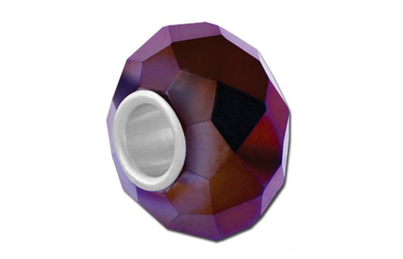 Metallic Purple Faceted Glass Bead