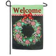 Peppermint Candy Wreath Garden Suede Flag