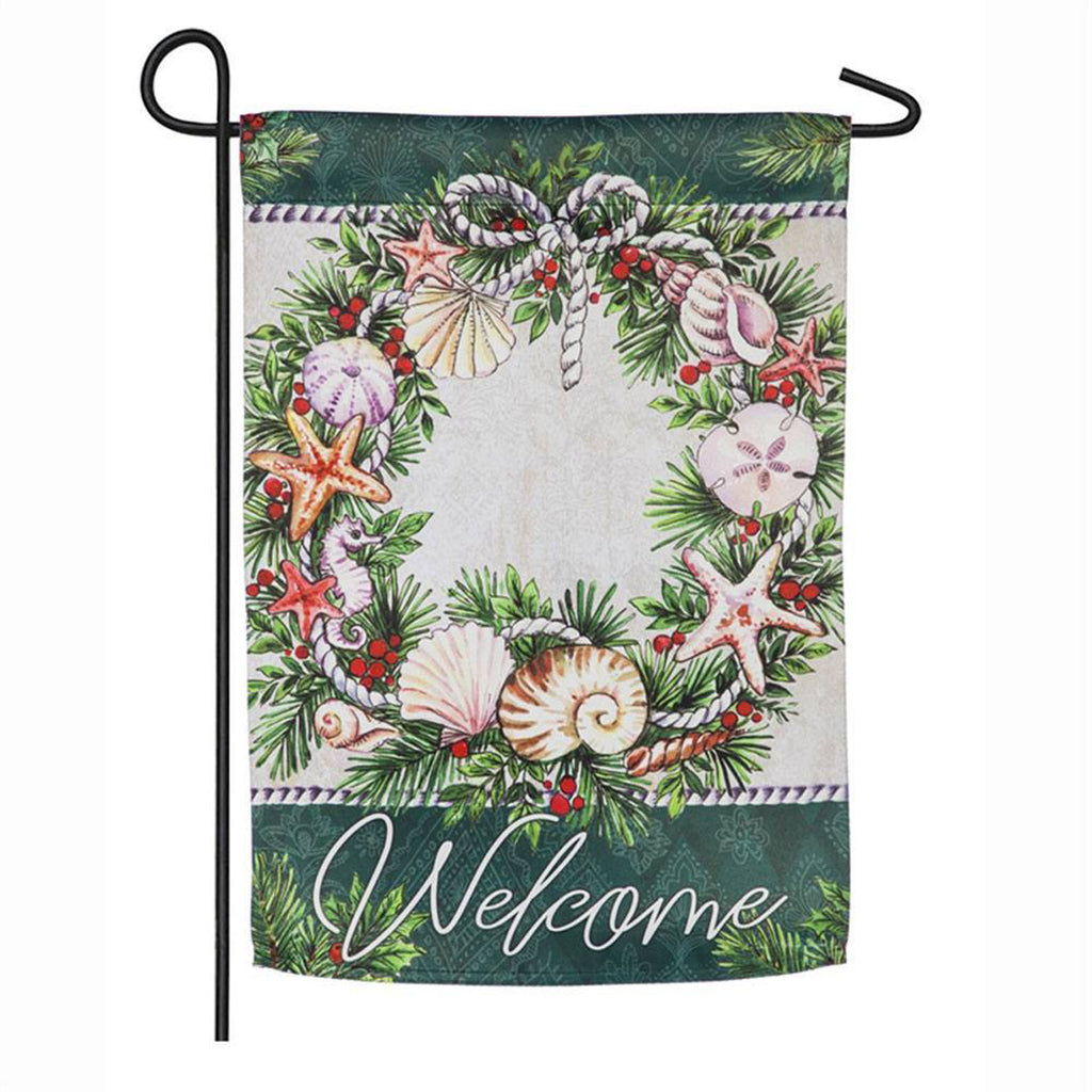 Holiday Coastal Wreath Garden Suede Flag