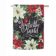 Joy to the World Poinsettia House Suede Flag