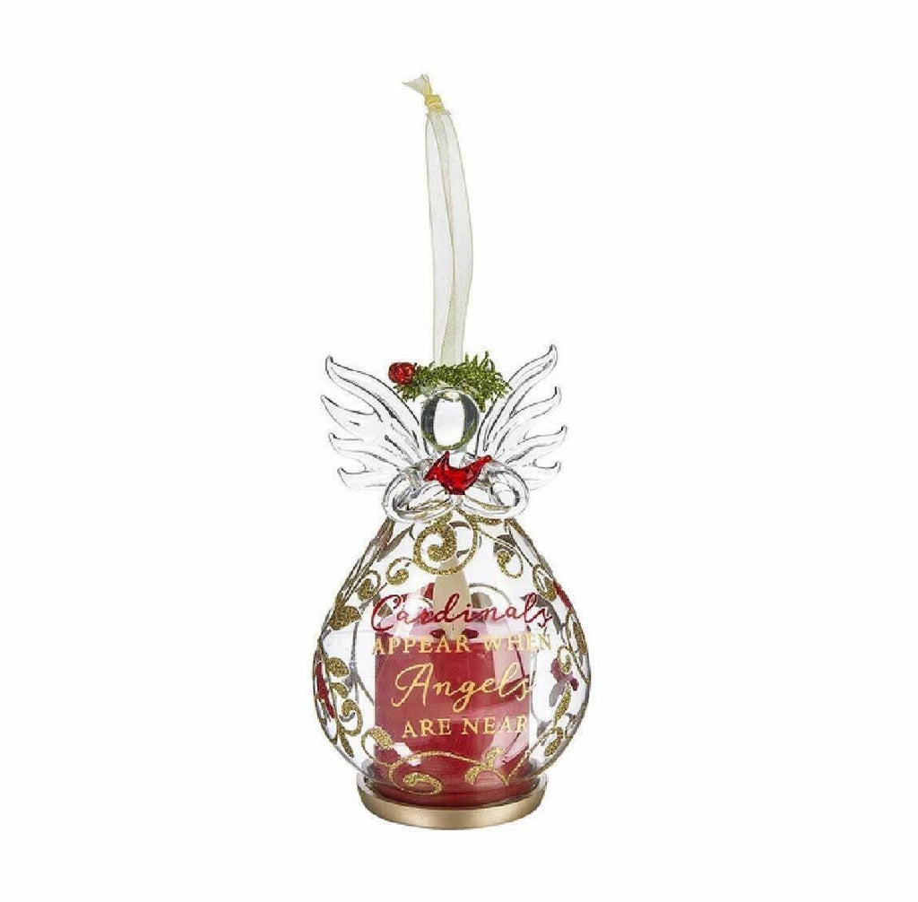 LED Angel With Cardinal Ornament
