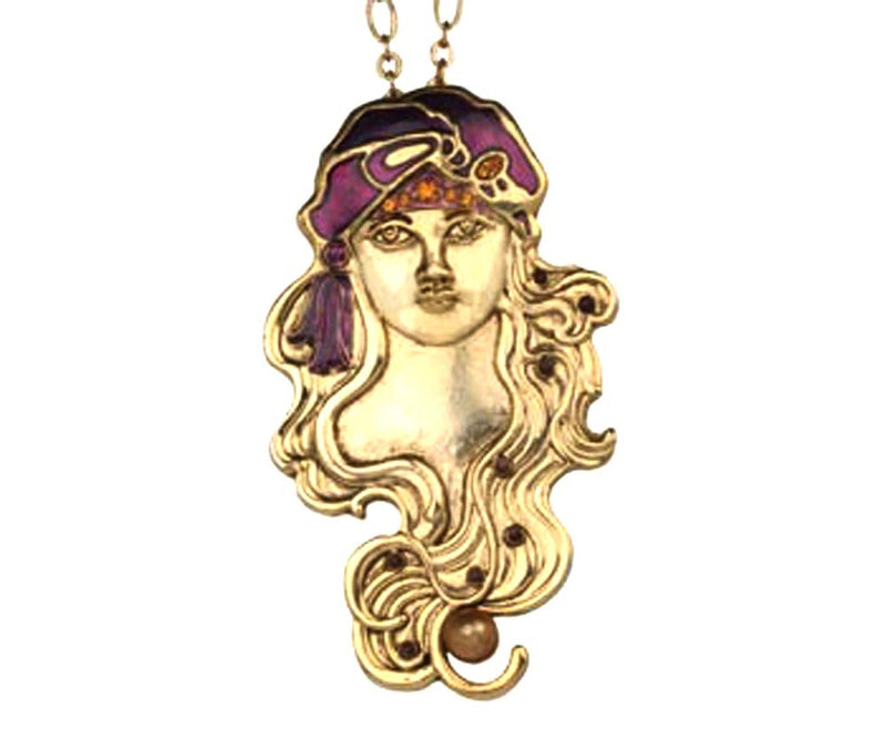 Girl with Turban Pin/Pendant Necklace