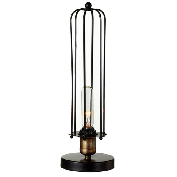 Black Cage Accent Lamp, Metal