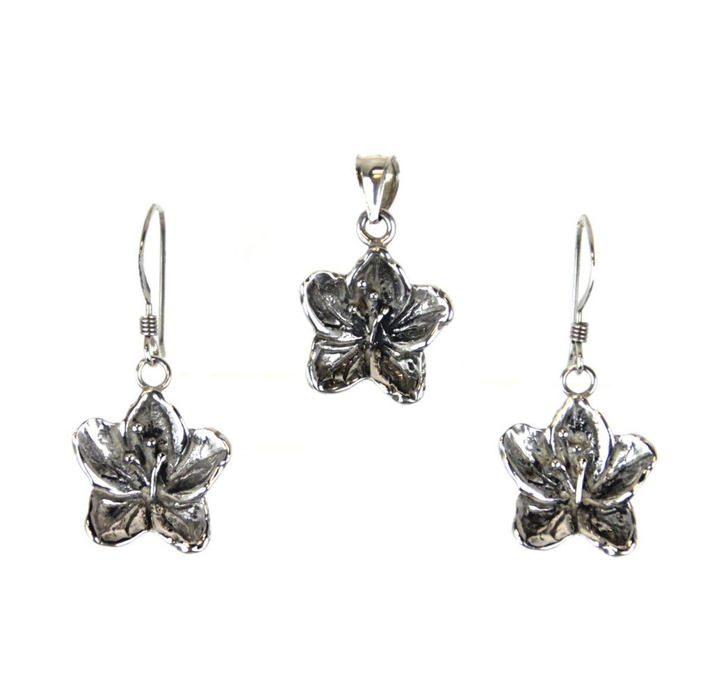 Flower Sterling Silver Pendant & Earrings