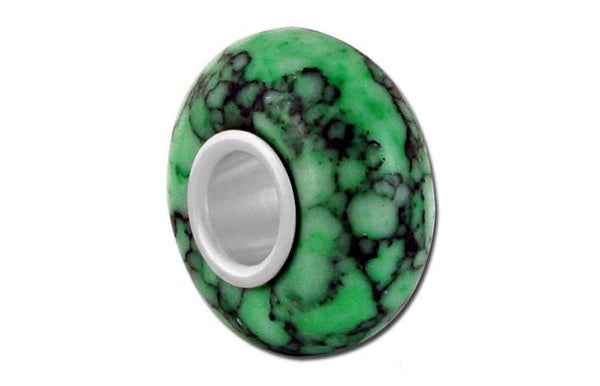 Bellastone Green Crackle Glass Bead - Green