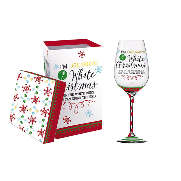 White Christmas Wine Glass w/gift box