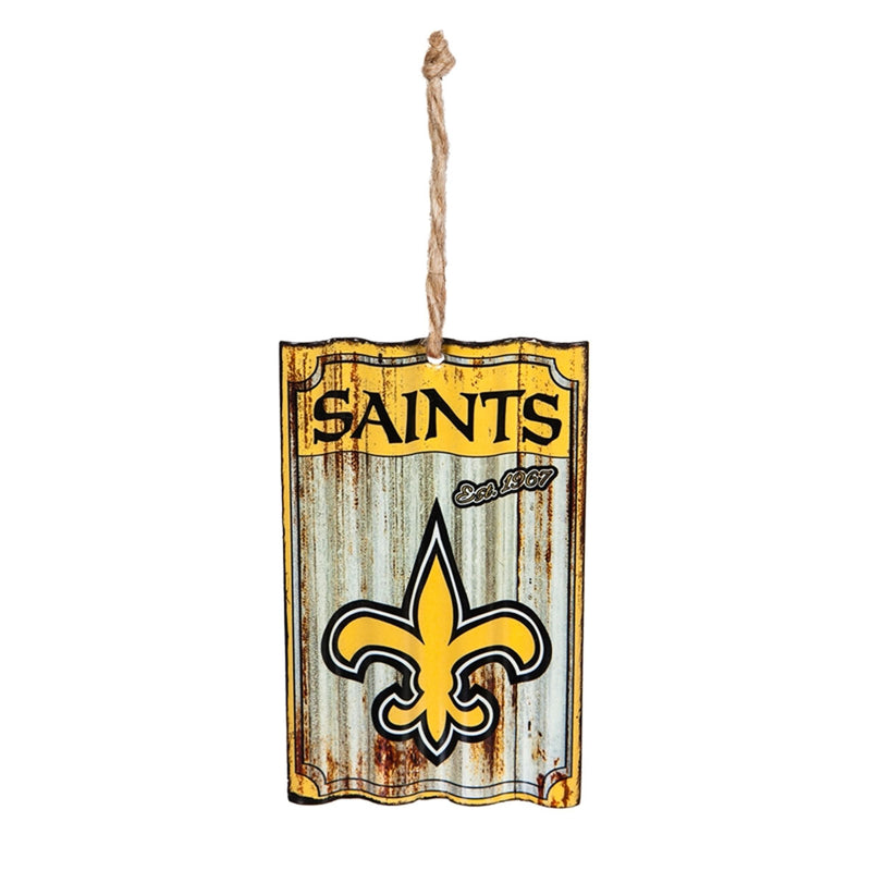New Orleans Saints Metal Corrugated Ornament