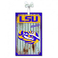 LSU Metal Corrugated Ornament