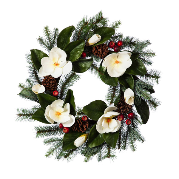 Magnolia Wreath w/berries & pine cones