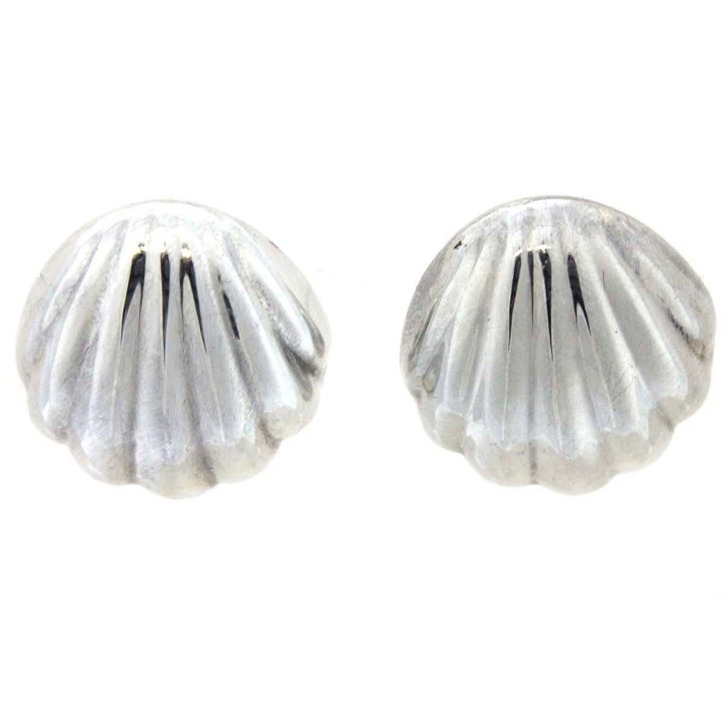 Scalloped Clip Earrings Sterling Silver