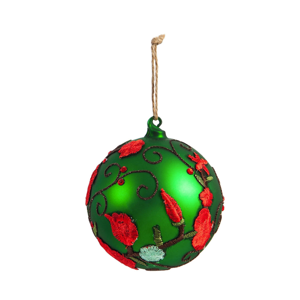 Glass Floral Ball Ornament