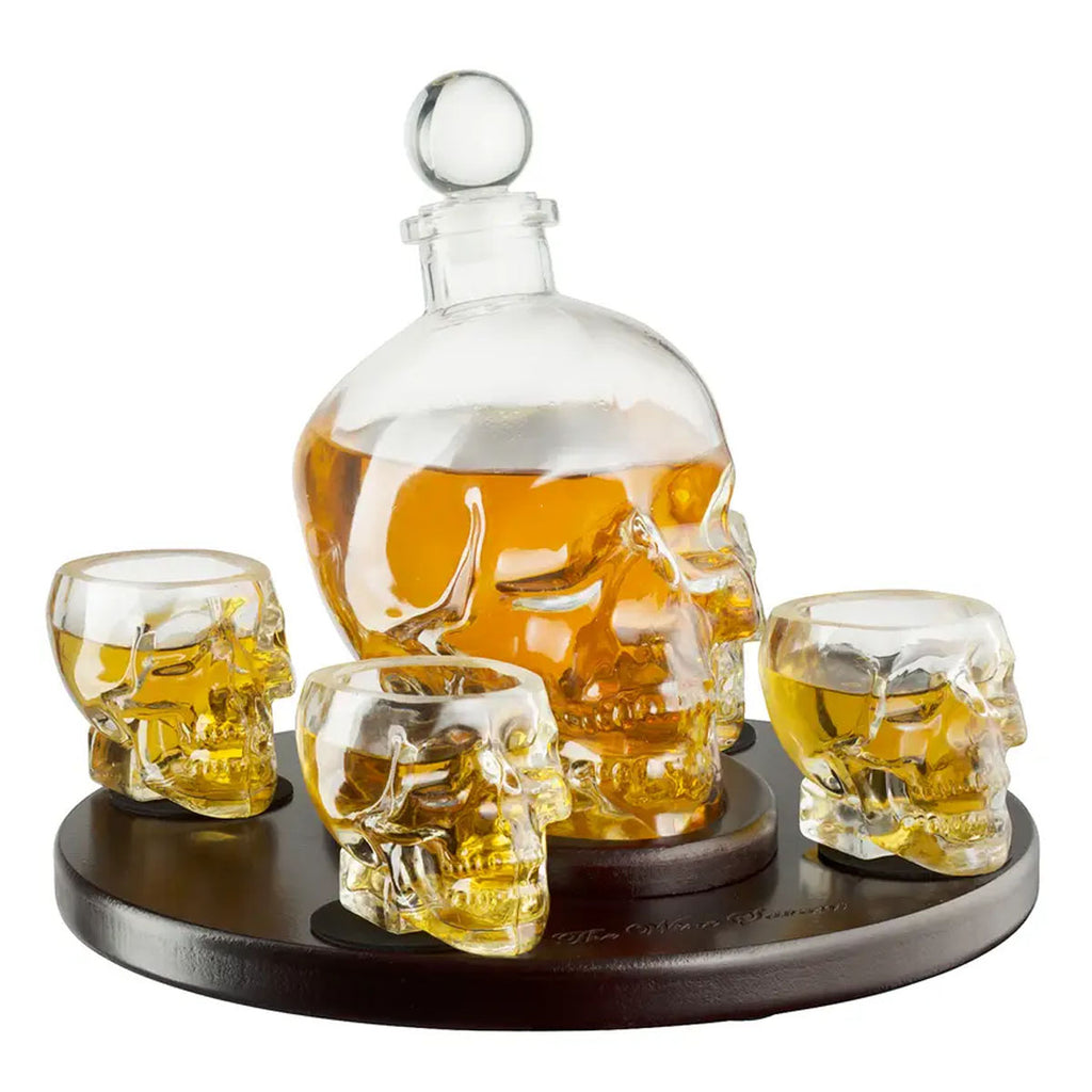 Skull Decanter Set and tray