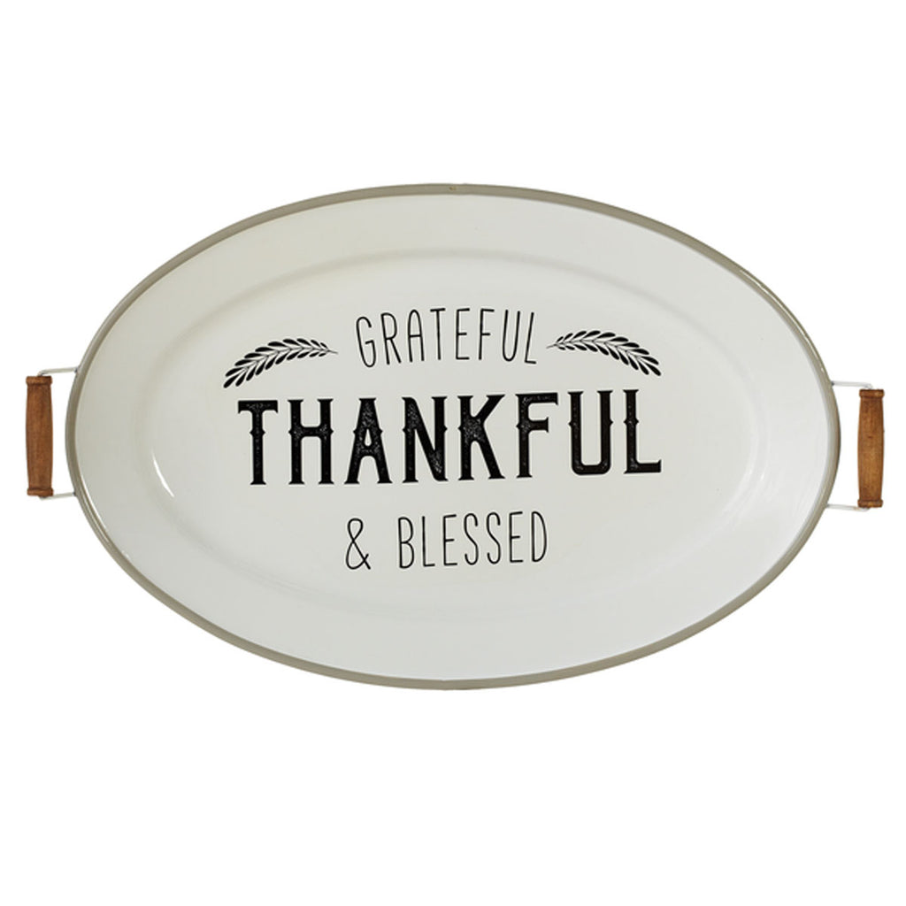 "White & Grey Enamel ""Grateful, Thankful, Blessed"" Oval Tray Wall Decor"