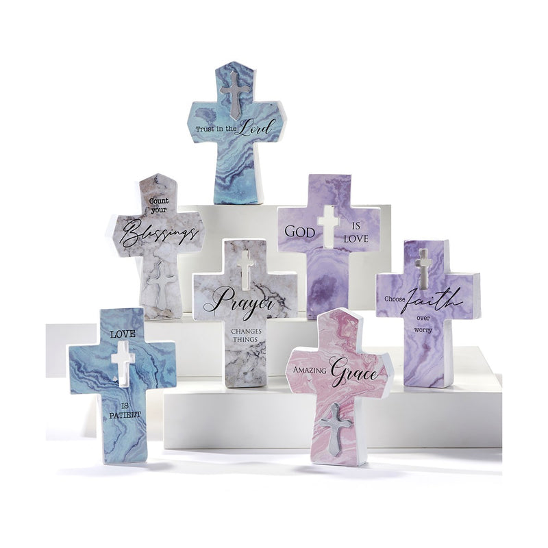 "Mini Cross Figurine, ""Count Your Blessings"""