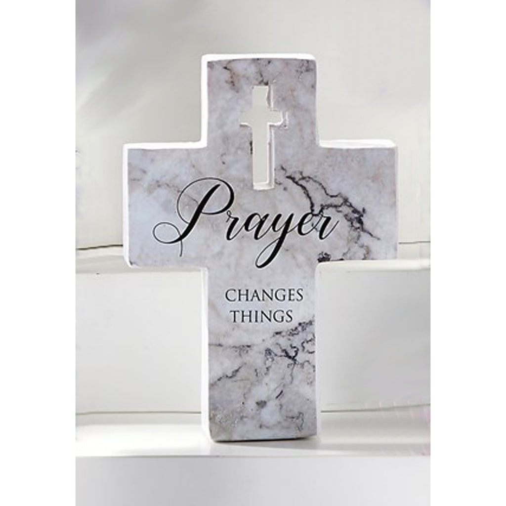 "Mini Cross Figurine, ""Prayer Changes Things"""