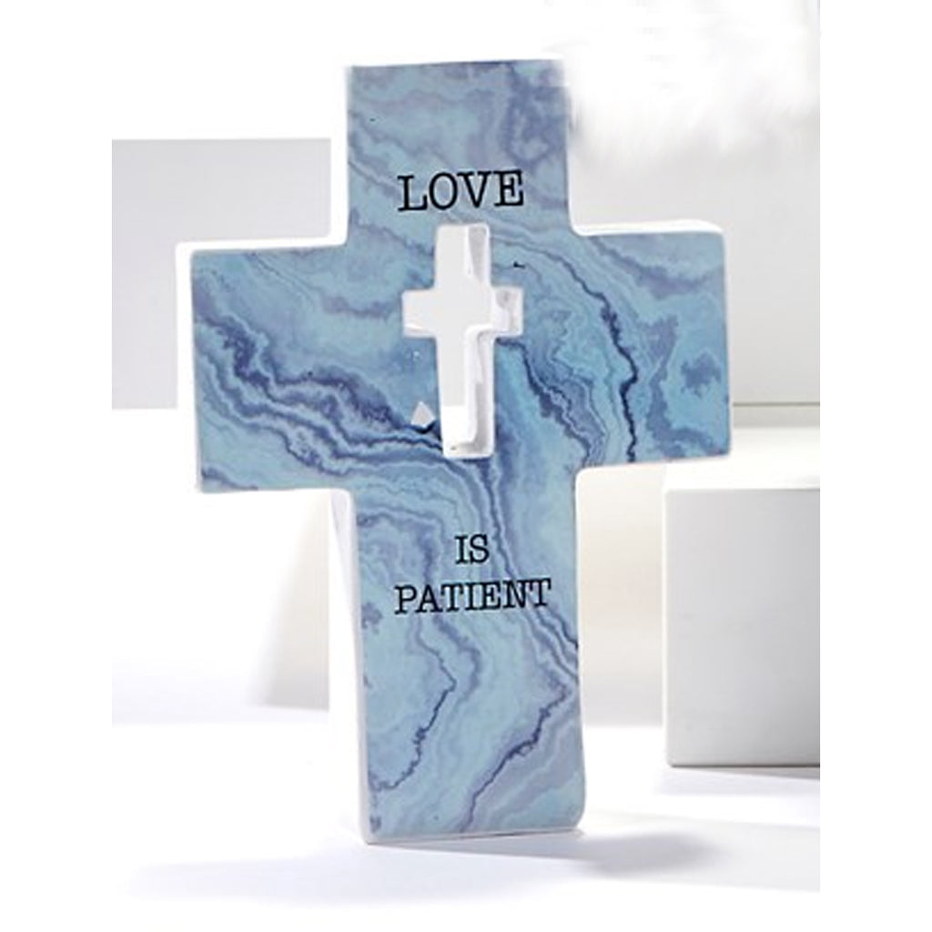 "Mini Cross Figurine, ""Love is Patient"""