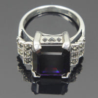 Sterling Silver Amethyst CZ Square Cut Ring Size 10