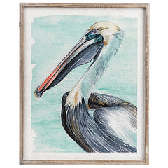 Framed Pelican Watercolor Wall Decor