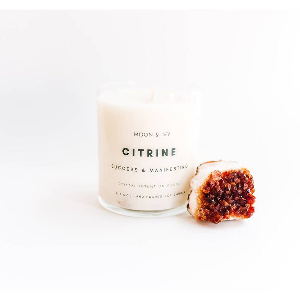 Citrine Crystal Soy Candle