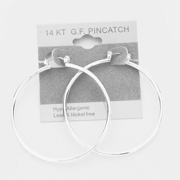 "2"" White Gold Filled Hypoallergenic Hoop Pin Catch Earrings"