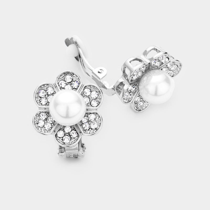 Pearl Centered Crystal Pave Floral Clip On Earrings