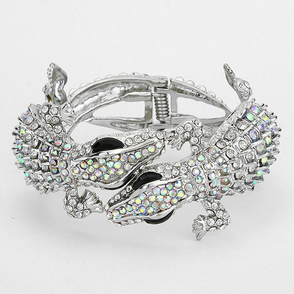 Alligators Evening Bracelet Hinged Crystal Rhinestone