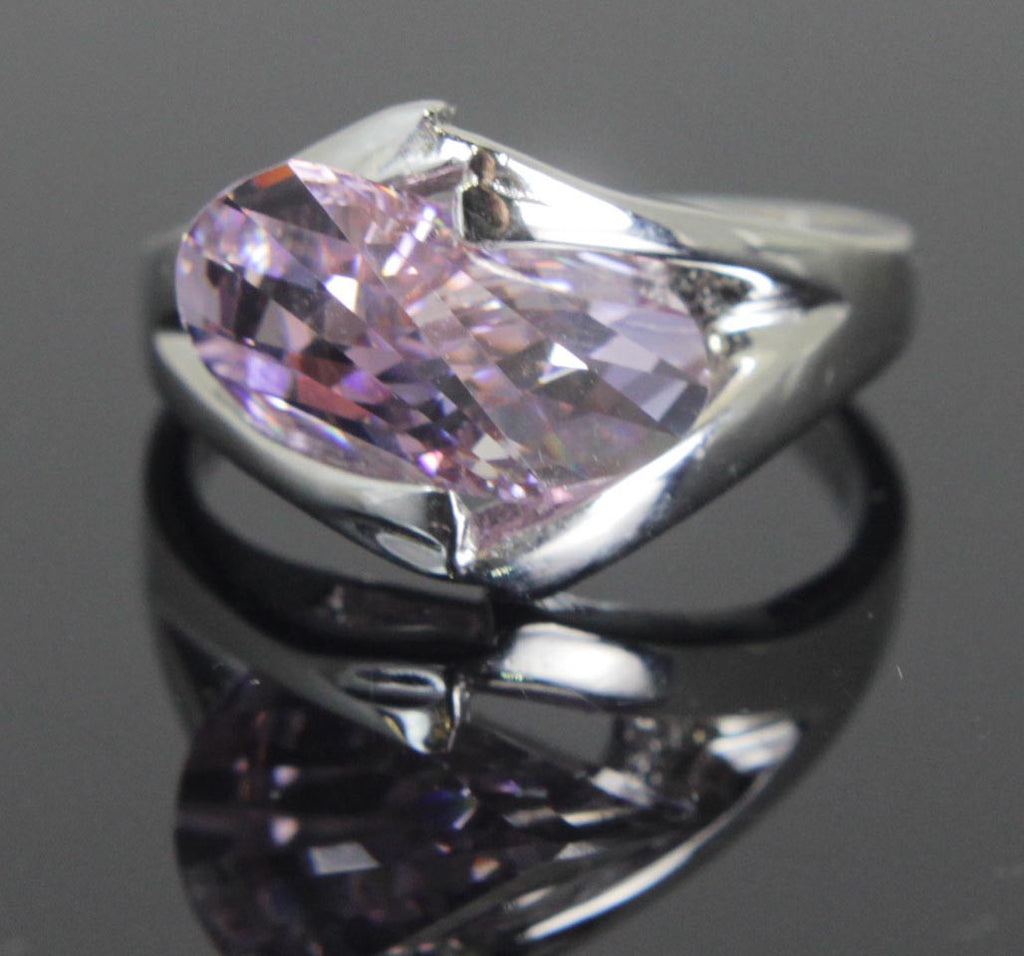 Plated Light Amethyst Zirconia Ring Size 8