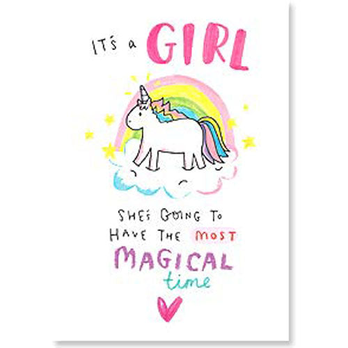 Card : It's a Girl (w/unicorn)
