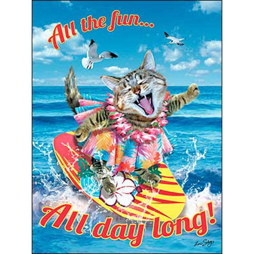 "Birthday Card ""All the fun...All day long"" w/ cats"