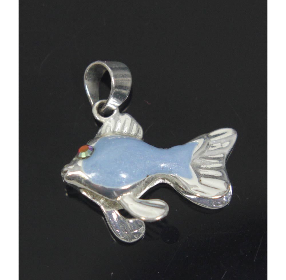 Fish Pendant Blue Sterling Silver
