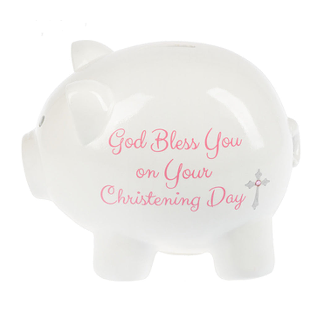 Christening Coin Bank, Pink