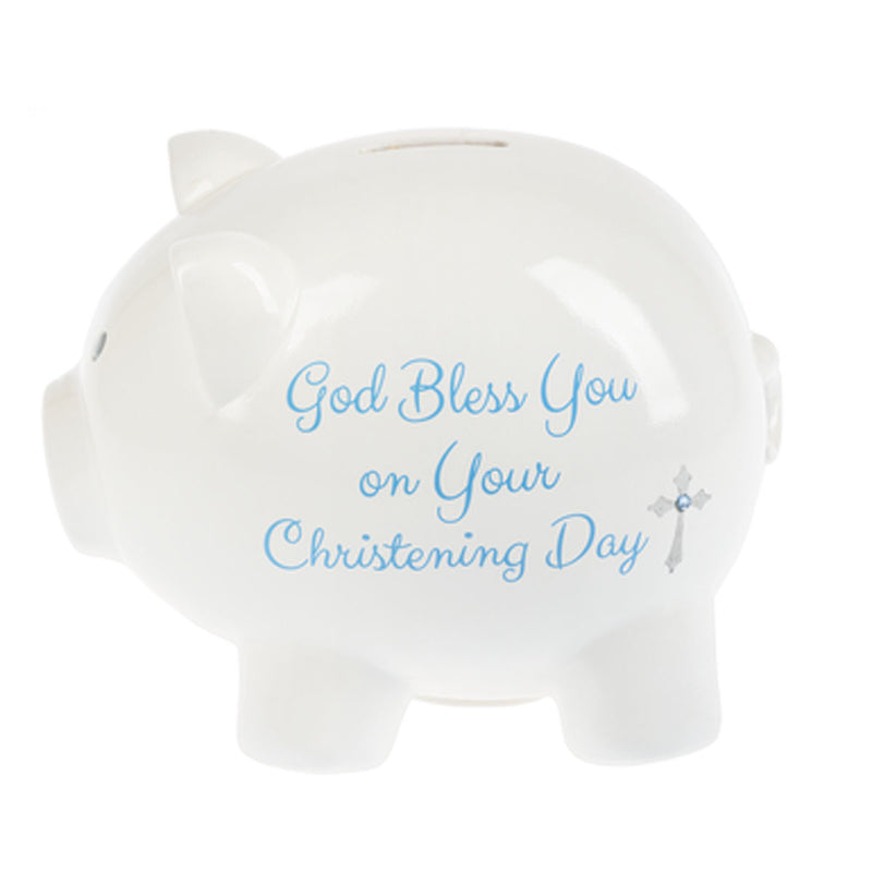Christening Coin Bank, Blue