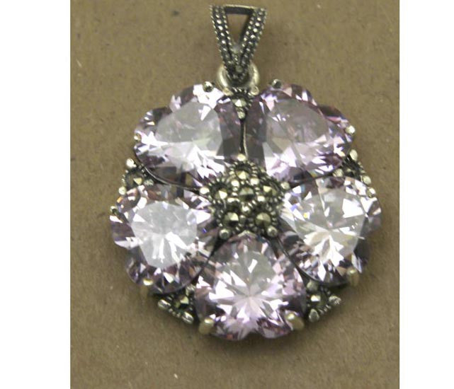 Sterling Silver Hearts Amethyst Pendant