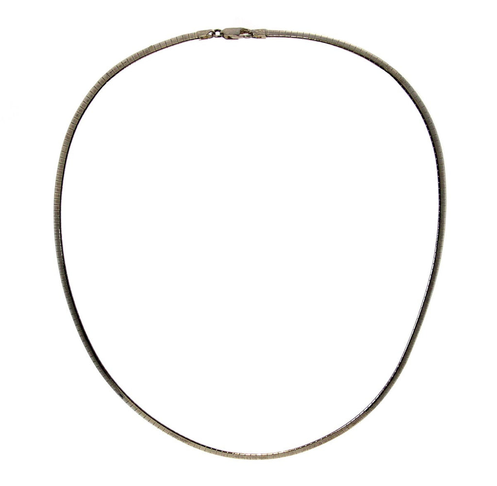 "Sterling Silver 18"" Domed Omega (4mm)"
