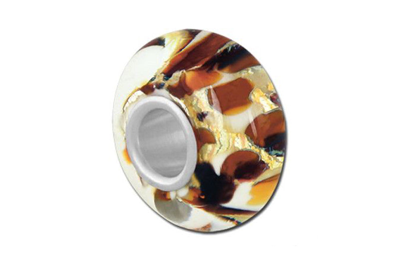 Cheetah Glass Bead - Brown