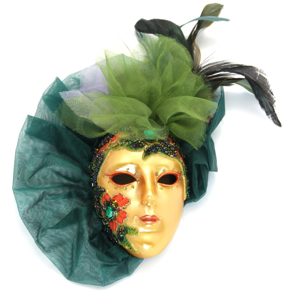 Lady Mask Beaded with Lace Green
